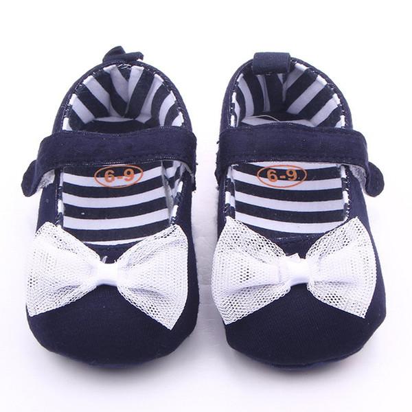 Baby Mädchen weiche Sohle Schuhe Marineblau Denim mit weißer Spitze Bowknot Kleinkind Canvas Schuhe