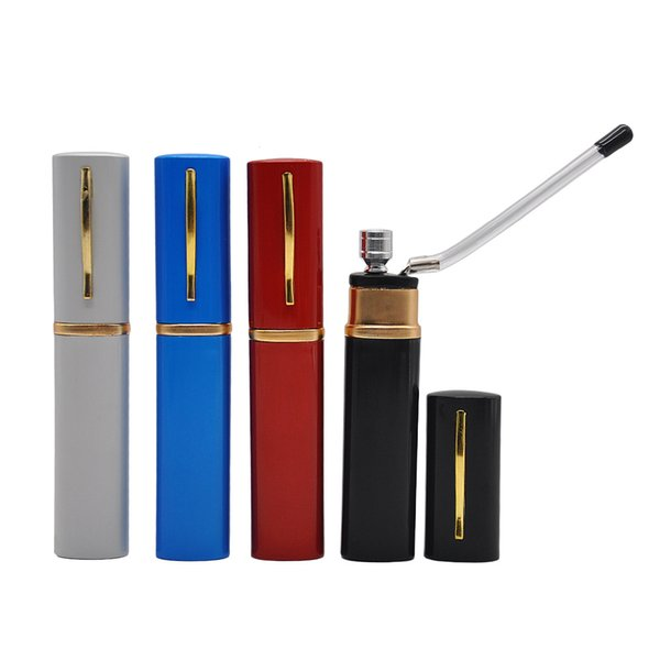 Mini Aluminum Water Pipe Pen Shape Creative Metal Water Bong 14CM Small Pocket Flexible Shisha Hookah
