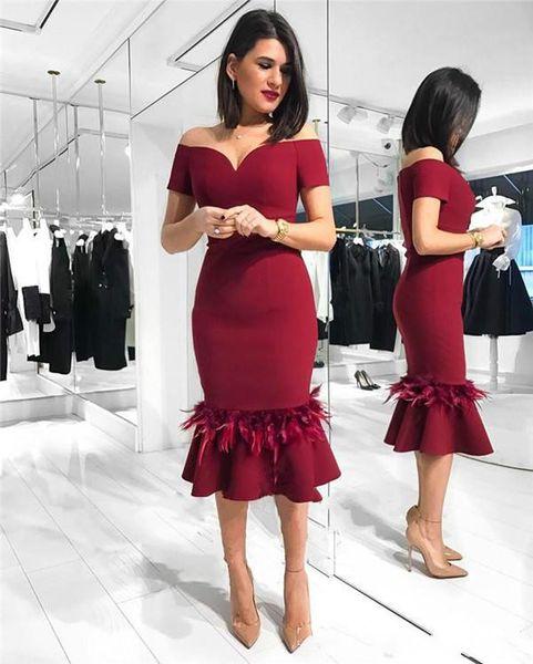 Sexy nappa Borgogna Said Mhamad Abiti Homecoming Off spalla arabo lunghezza del ginocchio breve vestito da promenade Cocktail Festa di laurea Club Wear