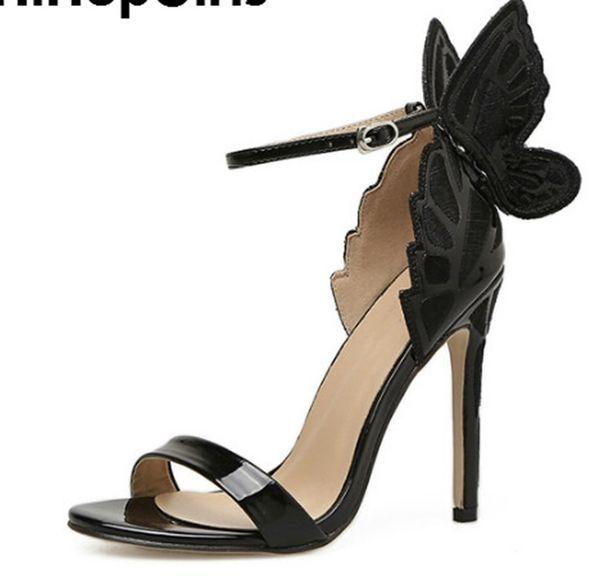 2018 neue Sommer RomanThree-dimensional schmetterling Frauen sandalen Sexy einfarbig High Heels mode Spitz Frau Schuh