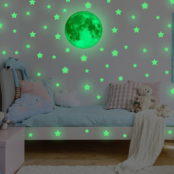 Glow In Dark Wall Ceiling Stars Moon Stickers Wall Stickers Bedroom Living Room Night Kid Home Decor Pegatinas De Pared Tx Wall Decals Cheap Wall