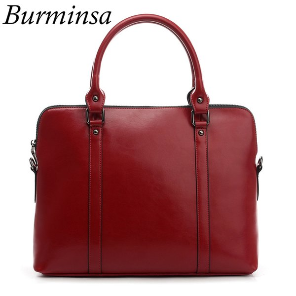 Burminsa Brand Real Maletín de cuero genuino para mujeres Diseñador de bolso 14 pulgadas Laptop Bag Office Ladies Shoulder Messenger Bags
