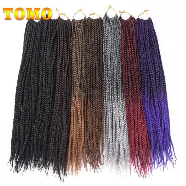 "best selling TOMO Hair 14"" 18"" 22""Medium Box Braid Crochet Braids Hair Extensions 22Roots Pack Ombre Kanekalon Synthetic 3S Crochet Braid Braiding Hair"