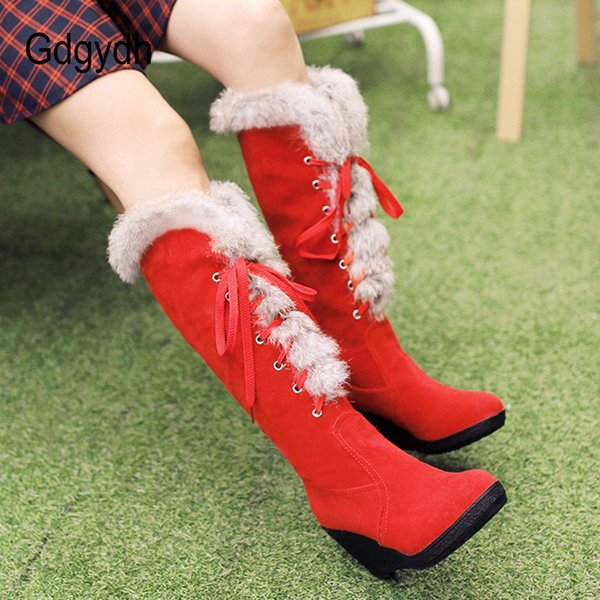 Gdgydh Suede Knee High Shoes Female Snow Boots Winter Warm Shoes Woman High Heels Wedges Good Quality Winter Long Boots