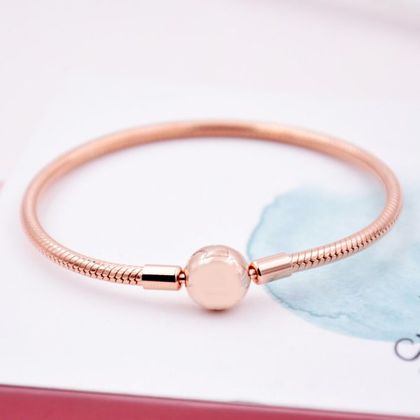 925 Sterling Silver Bracelet Rose Gold Moments Smooth Ball Clasp Snake Bracelet Bangle Fit Women Bead Charm Diy Jewelry