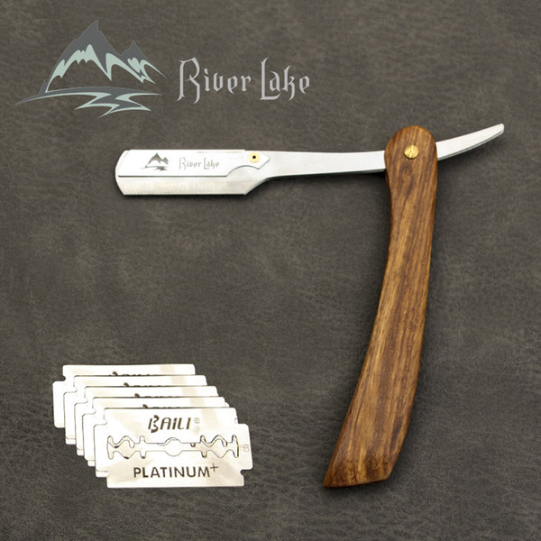 wholesale Straight Shaver straight razor blade Folding Shaving Knife replacement Wood Handle Male Razor with barber shaving