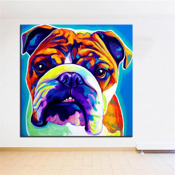 Große größe Druck Ölgemälde englisch bulldog wandmalerei Home Dekorative Wandkunst Bild Für Wohnzimmer paintng Kein Rahmen