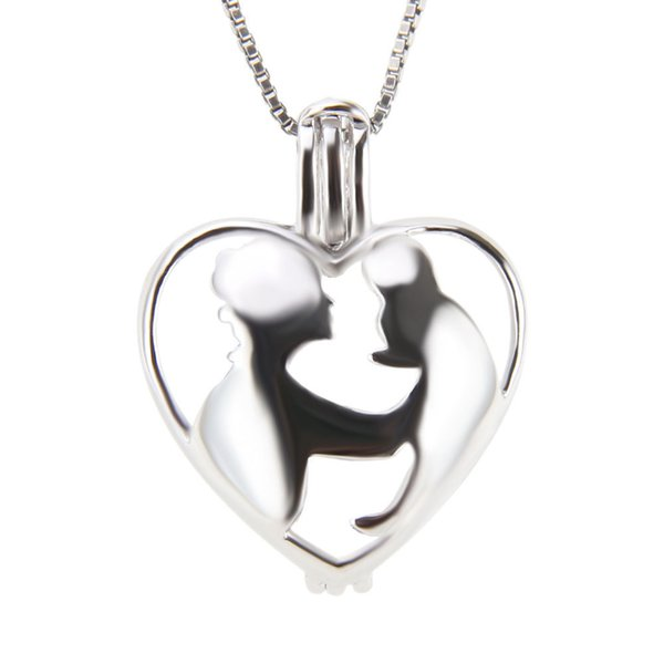 Mother's Day 925 Sterling Silver Mother and Baby Cage Pendants DIY charms, 20.4*15.9*9.5mm, Free Shipping