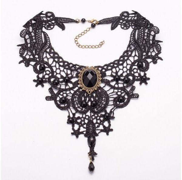 Collier en dentelle collier, Auniquestyle dentelle noire gothique Lolita pendentif tour de cou collier charme Vintage ruban mariage Bijou collier tour de cou