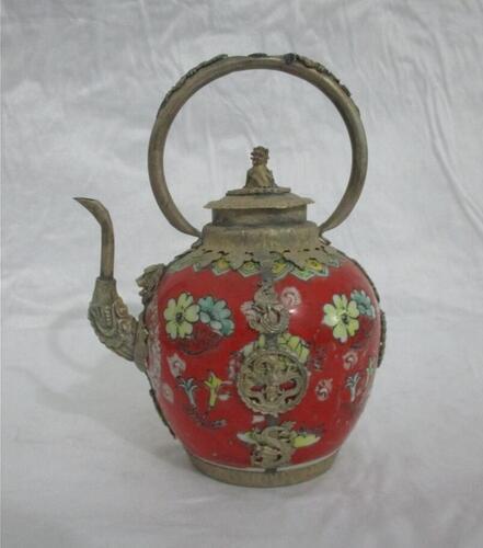 Noel süslemeleri için ev + Koleksiyon Dekore tibet r kırmızı Porselen Aslan kapak büyük Demlik ücretsiz NAKLIYE