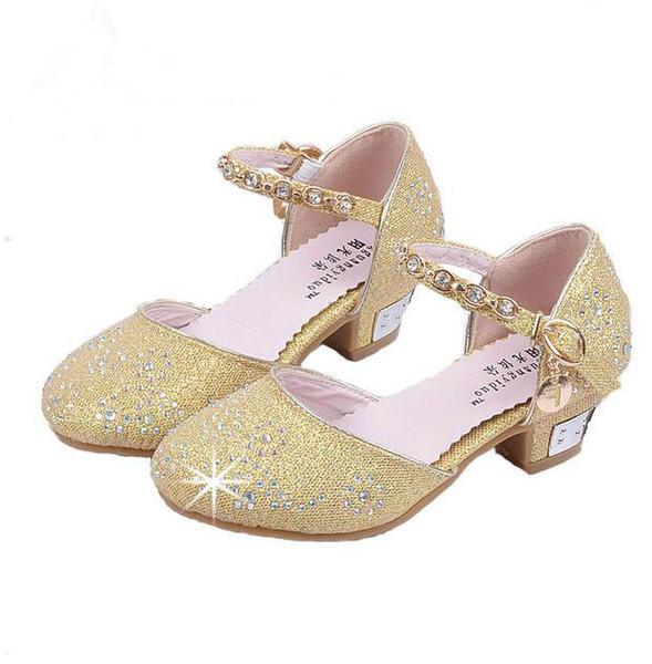 Children Princess Sandals Kids Girls Wedding Shoes High Heels Dress ShoesGold Shoes For Girls GA198