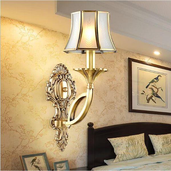 SVITZ antique wall lamps copper Interior lighting bedroom wall Sconce Europe vintage wall light aisle villa hotel terrace