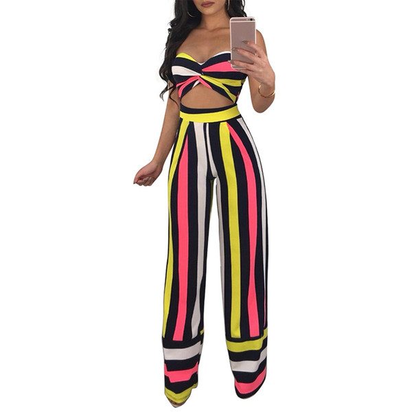 Clubwear Print Striped Two Piece Set Women 2018 Fashion Strapless Tops and Wide Leg Pants Suit Conjunto Feminino Party Jumpsuits