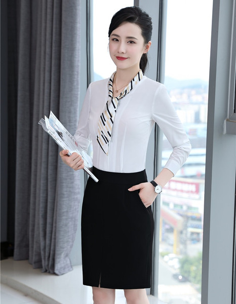 New Style 2018 Fashion Women Business Suits with 2 Piece Skirt and Top Sets Ladies White Blouses Office Uniform Designs