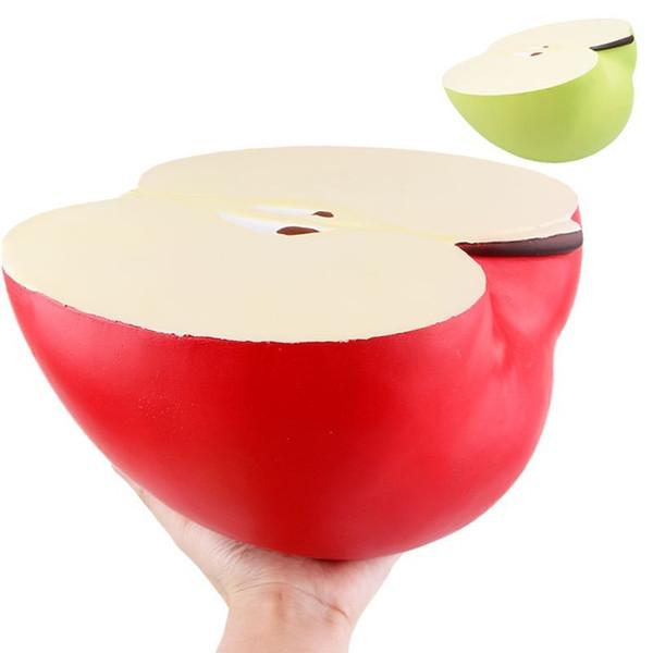 Gran 24 cm Verde Rojo Manzana Squishy Ligero Crecimiento Jumbo Suave Squeeze Kawaii Squishies Juguetes Charm Antiestrés Regalo de Navidad Caliente