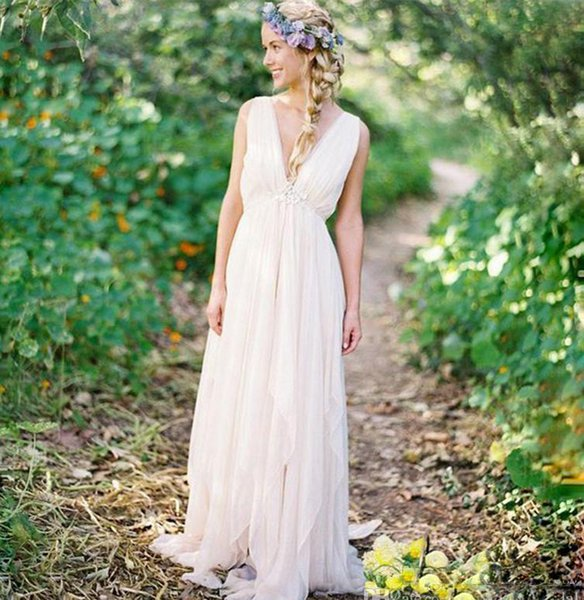 Reizend Strand-Hochzeits-Kleider mit reizvollem V-Ausschnitt Backless Bodenlangen-Chiffon- Land-Sommer-Schärpe perlenbesetztem Kleid