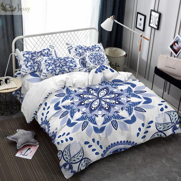 Großhandel Luxus Chinesischen Ethnischen Stil Bettwäsche Set Bettbezug Set Blau Weiß Porzellan Bettwäsche Kissenbezüge 45 45 Cm Kissenbezug Von