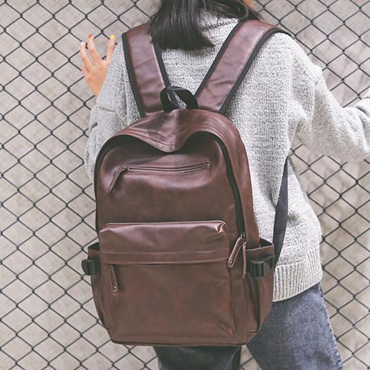 Cuero de LA PU Mujeres Mochila de gran capacidad Adolescente femenina Bolsa de ordenador portátil 15.6 Impermeable mochila de los hombres viajan School Bag Daypack negro