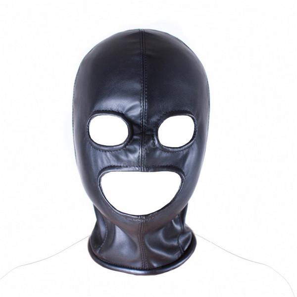 Suave de LA PU Máscara de Cuero Capilla Sexy Juguetes Fetish Boca Abierta Ojo Capucha Máscara Cabeza Bondage Juegos Adultos Juguetes Sexuales Para Pareja Juguetes Eróticos
