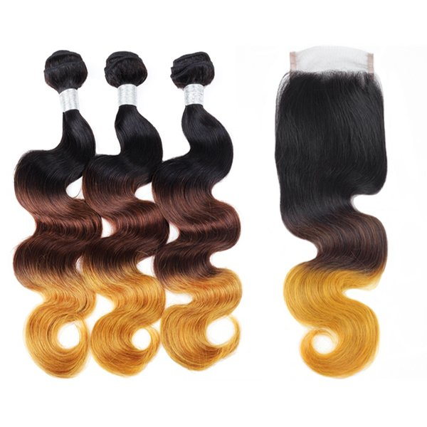 Ishow Ombre Brazilian Body Wave Human Hair Bundles with Lace Closure Free Part Peruvian Remy Hair 3 Bundles with Closure T1B/4/30
