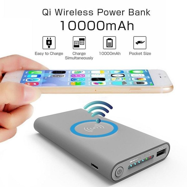 Hot sale Wireless Qi Charger 10000mAh Power Bank Fast Charging Adapter For Samsung NoteS8 For iPhone 8 iphone X with Package