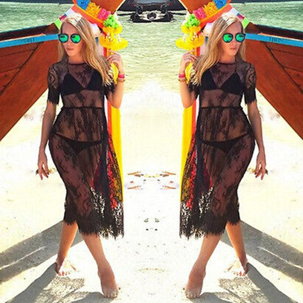 Schwarz Sheer Sexy Strand Vertuschen Lace Bestickte Netzabdeckung Ups Kurzarm Badeanzug Vertuschen Sommerkleid Beach Wear Für Frauen