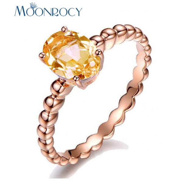 MOONROCY Rose Gold Color CZ Champagne Anelli di cristallo per le donne Oval Party gioielli matrimonio all'ingrosso Dropshipping del regalo
