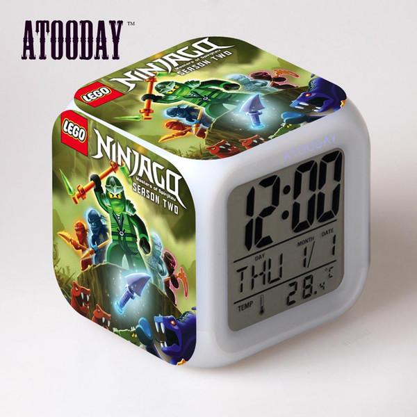 ATOODAY Ninjago Alarm Clock Led Light 7 Changement de couleur Lcd Display Montre Horloge de projection Klok Square Digital Car Dashboard Vintag