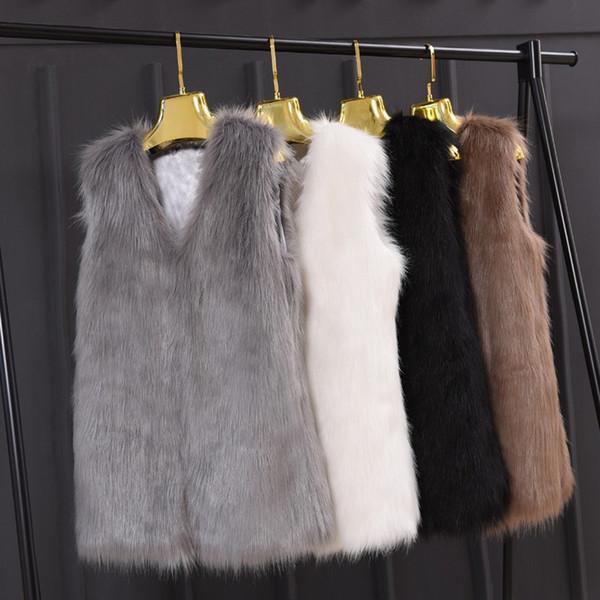 Новейшая осень мода из искусственного меха женщин дамы без рукавов тонкий жилет куртка пальто верхняя одежда жилет Большой размер XXXL черный серый Q4961