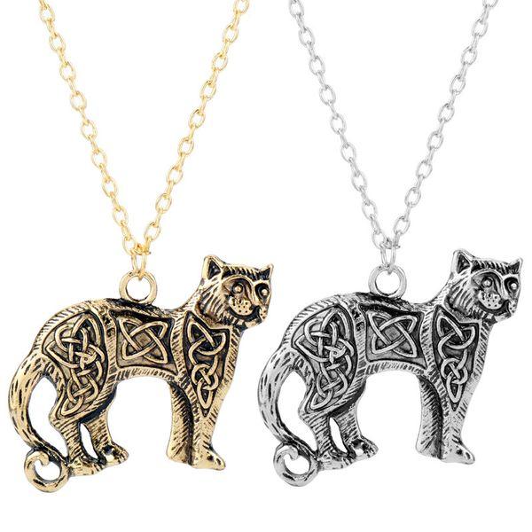 HANCHANG Norse Викинги ювелирные изделия CelticKnot оригинальный животных кошка ожерелье Славянский ирландский кельты Амулет подвески ожерелья