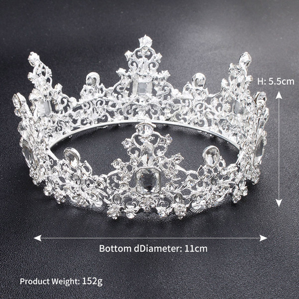 New Baroque Vintage Crystal Wedding Bridal Tiaras Hairband Headpiece Gold White Clear Princess Girls Pageant Crown Bridal Hair Accessories
