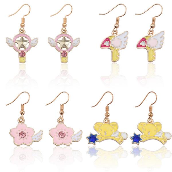 DIY Magic Sakura boucles d'oreilles pour femmes mignonne Anime Animal boucles d'oreilles pour fille à la mode Kawaii Variété Sakura Magic Card boucle d'oreille bijoux