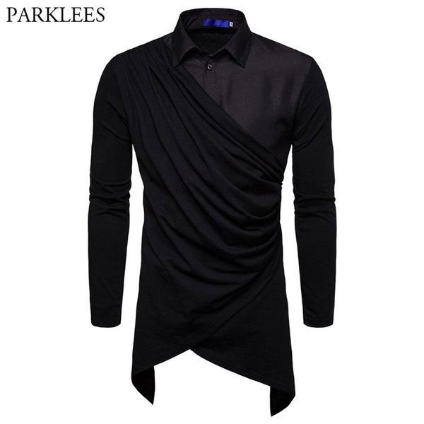 Patchwork Irregular Men Shirts New Arrivals Slim Royal Tuxedo Shirt Solid Long Sleeve British Style Cotton Men's Shirt