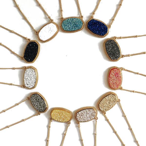 Fashion druzy drusy collier boucles d'oreilles kendra argent plaqué or faux naturel pierre scott colliers boucles d'oreilles pour les femmes marque bijoux
