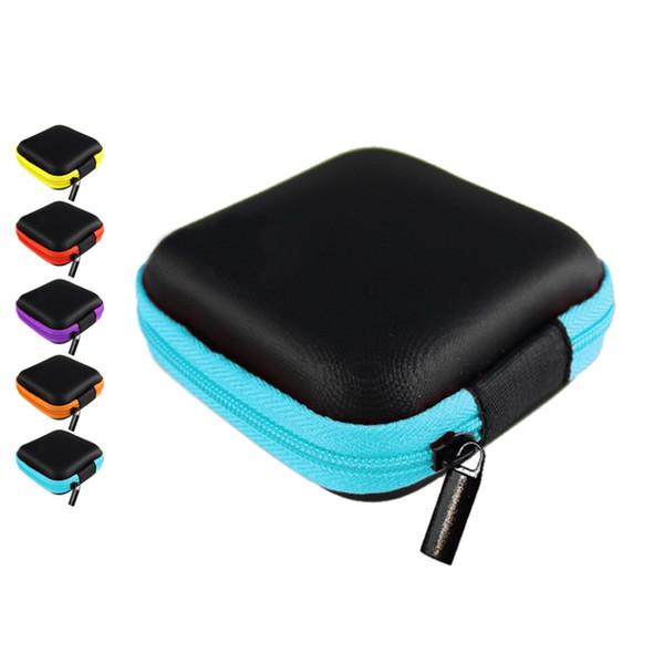 New 7.5*7.5*2.5cm PU Square Hard Earphone Pouch Storage Bag Travel Gadgets Closet Organizer Kitchen Accessories Home Decor Craft Supplies