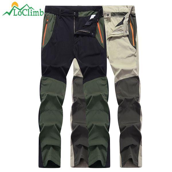 LoClimb Anti-UV Elastic Thin Hiking Pants Men Quick Dry Outdoor Sport Trousers Cycling Trekking Fishing Waterproof Pants AM294 C18111401