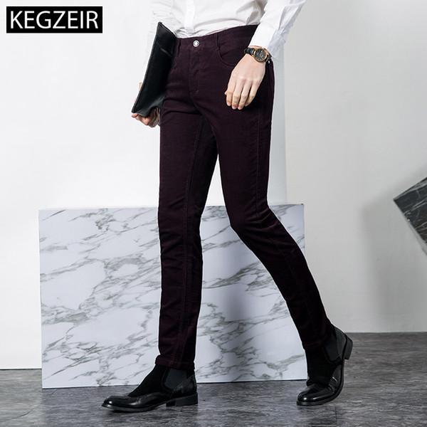 KEGZEIR 2018 New Winter Corduroy Pants Men Slim Zipper Men Trousers Casual Stretch Warm Korean Pants Big Size Broek Mannen