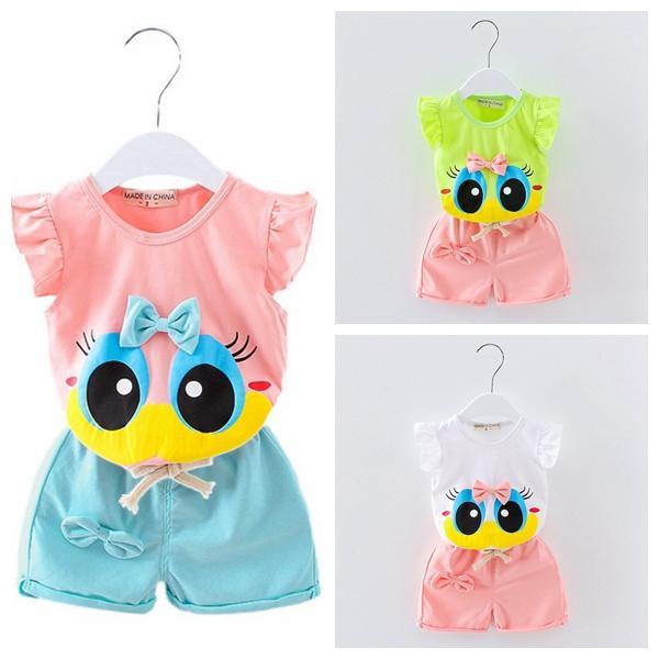 newborn infant toddler kids 0-4 years baby girls vest suit kids girls summer wear clothes child cartoon T-shirt+short 2pcs/set