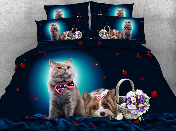 3D bedding sets queen floral christmas duvet cover cat dog flowers butterfly wolves single twin king cal king size bedspreads home textiles