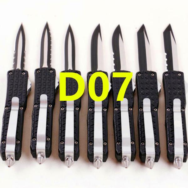 Precio al por mayor pequeño D07 7 pulgadas 7 modelos de doble acción Caza Automático Plegable Cuchillo de bolsillo de pesca de defensa personal Cuchillo