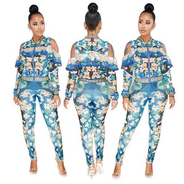 Women Bodycon Jumpsuit Puff Sleeve Vintage Rompers Skinny Print Two Pieces Autumn Overalls Plus Size Tracksuit Suit Sets