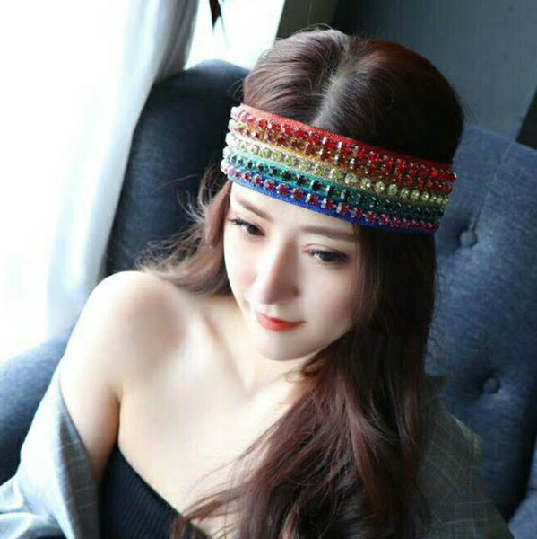 Fashion Design Ladies Bandanas Luxury 5 Row Gem Headbands Women Colorful Head Bands Turban Head Wraps Hair Accessories with Box