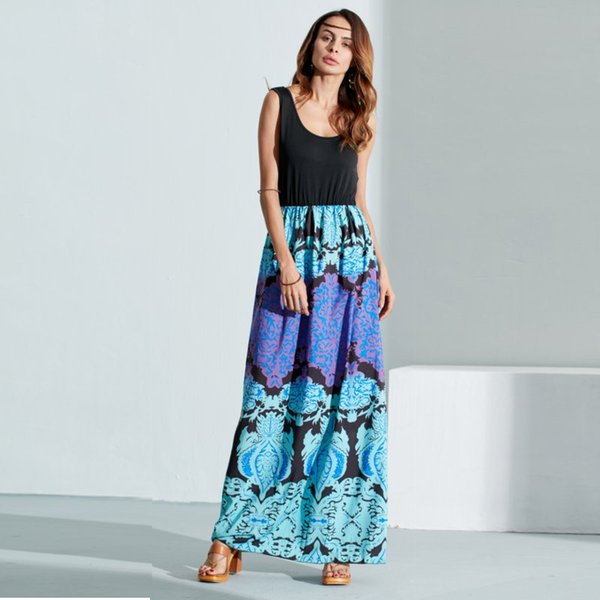 2018 New Summer Women Boho Dress Crew Neck Sleeveless Floral Patchwrok Ladies Maxi Dresses Casual Sexy Beach Vestidos S-3XL