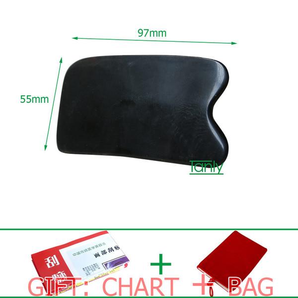 Haute qualité! Gros détail carré corne de buffle massage guasha kit 97 * 55mm