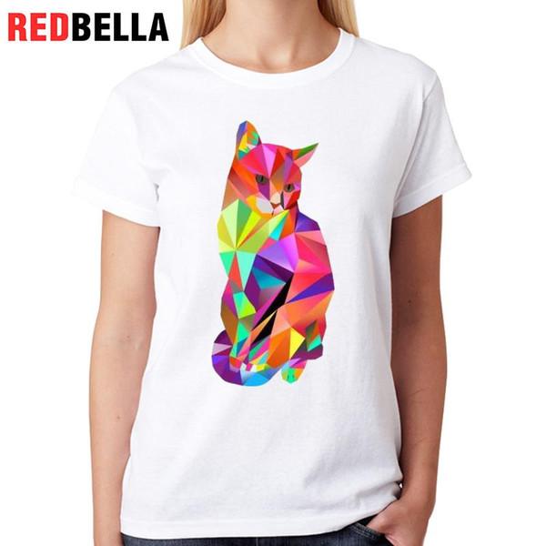 Camiseta de mujer Redbella Artística Camiseta blanca Gráficos Dibujo Gatos del arco iris Arte Diseño abstracto Vintage Cozy camiseta Femme Casual O cuello Tops
