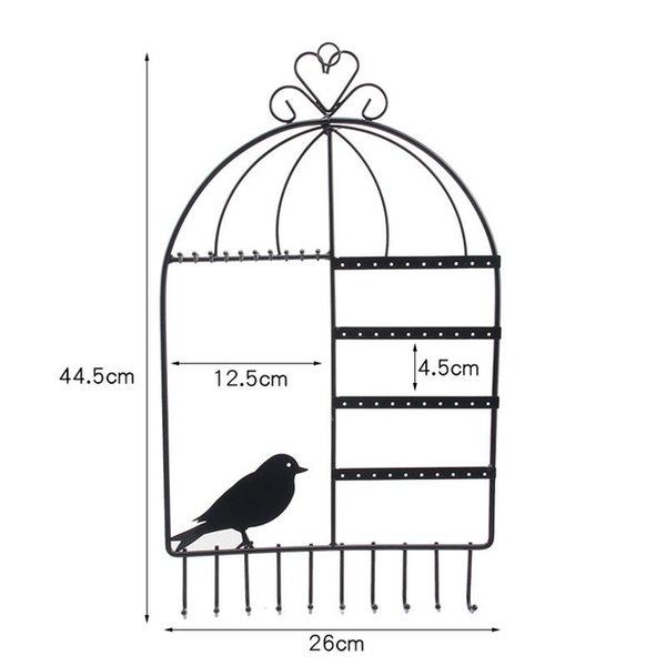 TONVIC Birdcage Shape Wall Mount Jewelry Organizer Hanging Earring Holder Necklace Display Stand Rack 44.5cm H White/Black/Pink