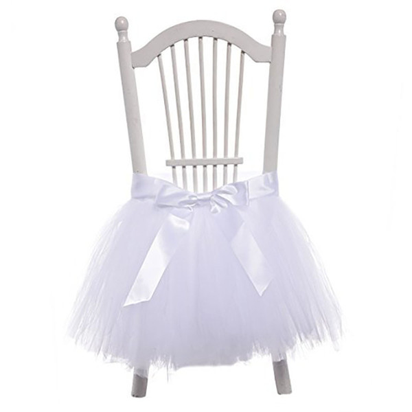 1PCS Bow-knot Tulle Chair Skirt DIY Tutu Tableware Skirts for Wedding Birthday Party Decoration Baby Shower Decorations 45*45cm