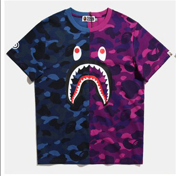 2019 Diseñador de Verano Camisetas de Lujo para Hombres Tops Marca Shark Boca Patrón de Ropa de Manga Corta Camiseta Para Hombre Tops