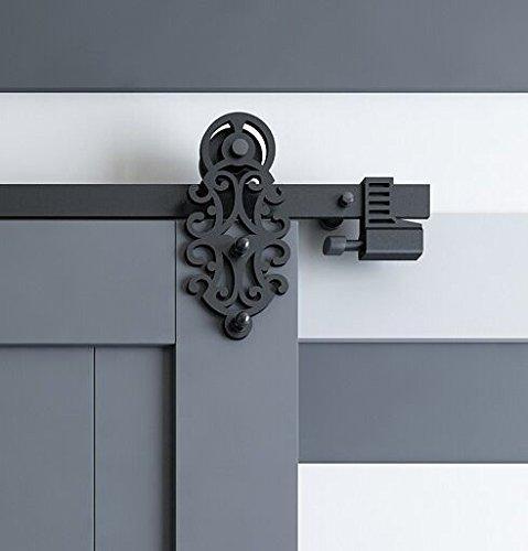 best selling Kinmade MM-20Q Ornate Cut Black Iron Sliding Barn Door Hardware