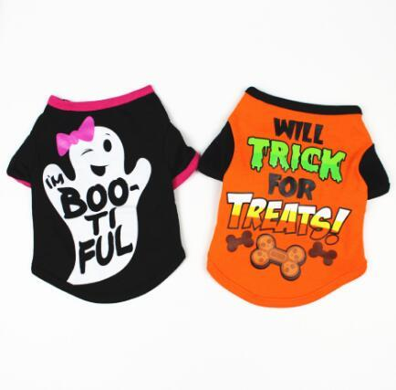 Dog clothing, spring and summer wear, cartoon print T-shirt, teddy bear, pet costume.